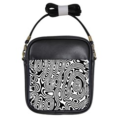 Psychedelic Zebra Black White Girls Sling Bags by Mariart