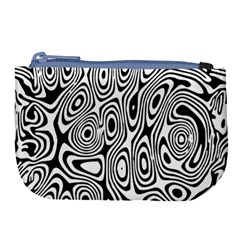 Psychedelic Zebra Black White Large Coin Purse by Mariart