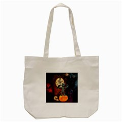 Funny Mummy With Skulls, Crow And Pumpkin Tote Bag (cream) by FantasyWorld7
