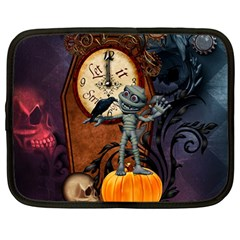 Funny Mummy With Skulls, Crow And Pumpkin Netbook Case (large) by FantasyWorld7