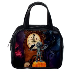 Funny Mummy With Skulls, Crow And Pumpkin Classic Handbags (one Side) by FantasyWorld7