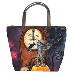 Funny Mummy With Skulls, Crow And Pumpkin Bucket Bags by FantasyWorld7