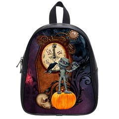 Funny Mummy With Skulls, Crow And Pumpkin School Bag (small) by FantasyWorld7