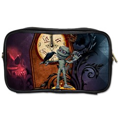 Funny Mummy With Skulls, Crow And Pumpkin Toiletries Bags by FantasyWorld7