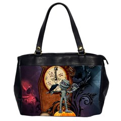 Funny Mummy With Skulls, Crow And Pumpkin Office Handbags (2 Sides)  by FantasyWorld7