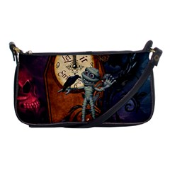 Funny Mummy With Skulls, Crow And Pumpkin Shoulder Clutch Bags by FantasyWorld7