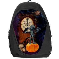 Funny Mummy With Skulls, Crow And Pumpkin Backpack Bag by FantasyWorld7