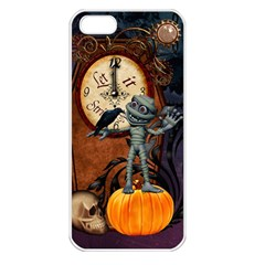 Funny Mummy With Skulls, Crow And Pumpkin Apple Iphone 5 Seamless Case (white) by FantasyWorld7