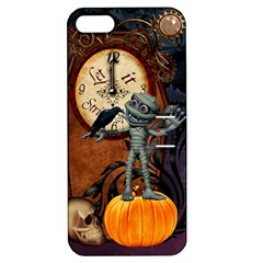 Funny Mummy With Skulls, Crow And Pumpkin Apple Iphone 5 Hardshell Case With Stand by FantasyWorld7