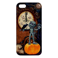 Funny Mummy With Skulls, Crow And Pumpkin Apple Iphone 5 Premium Hardshell Case by FantasyWorld7