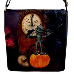 Funny Mummy With Skulls, Crow And Pumpkin Flap Messenger Bag (s) by FantasyWorld7