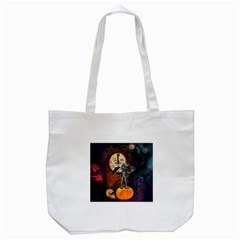 Funny Mummy With Skulls, Crow And Pumpkin Tote Bag (white) by FantasyWorld7