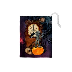 Funny Mummy With Skulls, Crow And Pumpkin Drawstring Pouches (small)  by FantasyWorld7