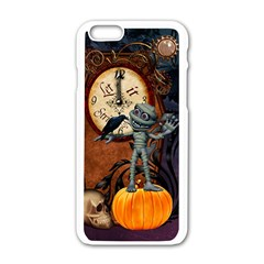 Funny Mummy With Skulls, Crow And Pumpkin Apple Iphone 6/6s White Enamel Case by FantasyWorld7