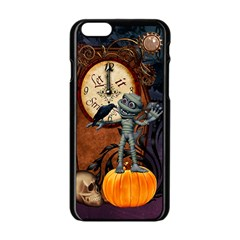 Funny Mummy With Skulls, Crow And Pumpkin Apple Iphone 6/6s Black Enamel Case by FantasyWorld7