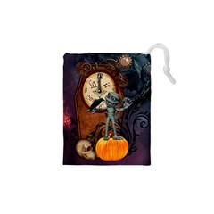 Funny Mummy With Skulls, Crow And Pumpkin Drawstring Pouches (xs)  by FantasyWorld7