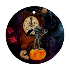 Funny Mummy With Skulls, Crow And Pumpkin Ornament (round) by FantasyWorld7