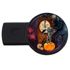 Funny Mummy With Skulls, Crow And Pumpkin Usb Flash Drive Round (4 Gb) by FantasyWorld7