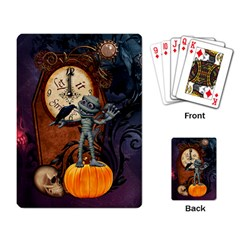 Funny Mummy With Skulls, Crow And Pumpkin Playing Card by FantasyWorld7