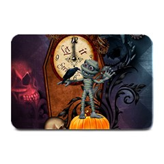 Funny Mummy With Skulls, Crow And Pumpkin Plate Mats by FantasyWorld7