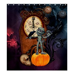 Funny Mummy With Skulls, Crow And Pumpkin Shower Curtain 66  X 72  (large)  by FantasyWorld7