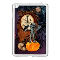 Funny Mummy With Skulls, Crow And Pumpkin Apple Ipad Mini Case (white) by FantasyWorld7
