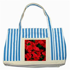 Red Poinsettia Flower Striped Blue Tote Bag by Mariart