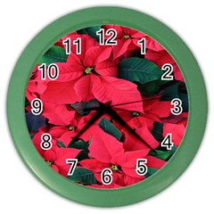 Red Poinsettia Flower Color Wall Clocks