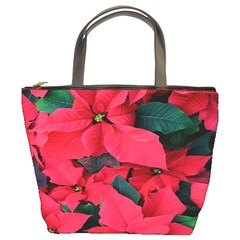Red Poinsettia Flower Bucket Bags by Mariart
