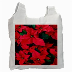 Red Poinsettia Flower Recycle Bag (one Side) by Mariart