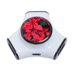 Red Poinsettia Flower 3 Port Usb Hub by Mariart
