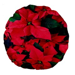 Red Poinsettia Flower Large 18  Premium Round Cushions by Mariart
