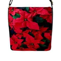 Red Poinsettia Flower Flap Messenger Bag (l)  by Mariart