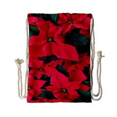 Red Poinsettia Flower Drawstring Bag (small) by Mariart