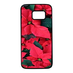 Red Poinsettia Flower Samsung Galaxy S7 Black Seamless Case