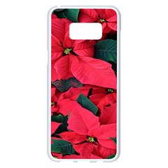 Red Poinsettia Flower Samsung Galaxy S8 Plus White Seamless Case by Mariart