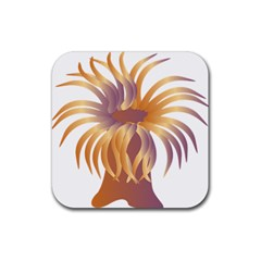 Sea Anemone Rubber Square Coaster (4 Pack)  by Mariart