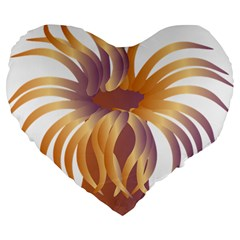 Sea Anemone Large 19  Premium Flano Heart Shape Cushions by Mariart