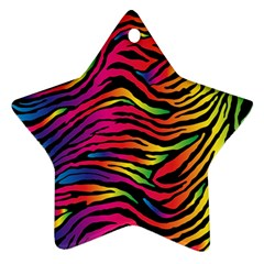 Rainbow Zebra Star Ornament (two Sides) by Mariart