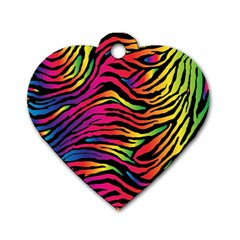 Rainbow Zebra Dog Tag Heart (one Side)