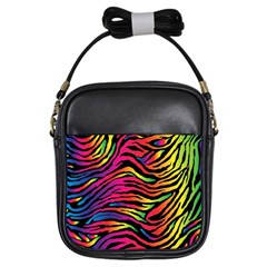 Rainbow Zebra Girls Sling Bags by Mariart
