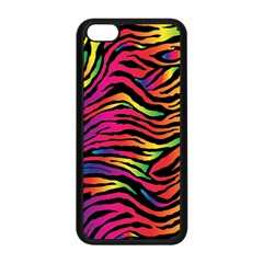Rainbow Zebra Apple Iphone 5c Seamless Case (black) by Mariart