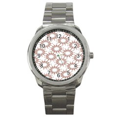 Pattern Flower Floral Star Circle Love Valentine Heart Pink Red Folk Sport Metal Watch by Mariart