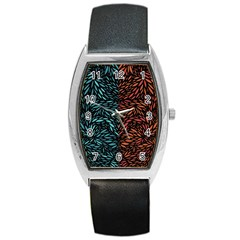 Square Pheonix Blue Orange Red Barrel Style Metal Watch by Mariart