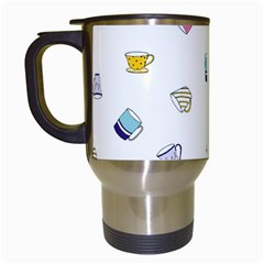 Tea Cup Mug Dringking Yellow Blue Grey Polka Dots Travel Mugs (white) by Mariart