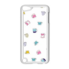 Tea Cup Mug Dringking Yellow Blue Grey Polka Dots Apple Ipod Touch 5 Case (white)