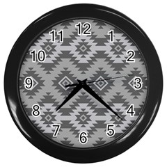 Triangle Wave Chevron Grey Sign Star Wall Clocks (black) by Mariart