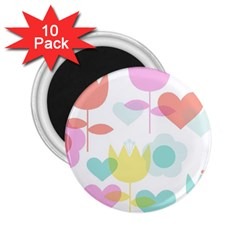 Tulip Lotus Sunflower Flower Floral Staer Love Pink Red Blue Green 2 25  Magnets (10 Pack)  by Mariart
