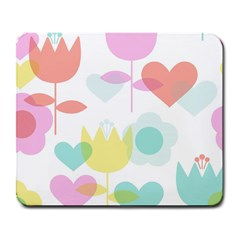 Tulip Lotus Sunflower Flower Floral Staer Love Pink Red Blue Green Large Mousepads by Mariart