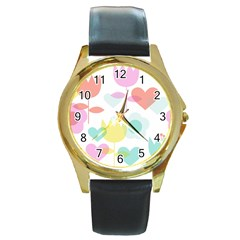 Tulip Lotus Sunflower Flower Floral Staer Love Pink Red Blue Green Round Gold Metal Watch by Mariart